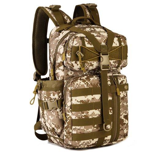 JWBB Ventiladores bolso táctico militar, hombres y mujeres deportes viajes mochila impermeable de 14 pulgadas bolsa de ordenador, bolsa de pesca ocio,Plata digital ACU Desierto dorado digital