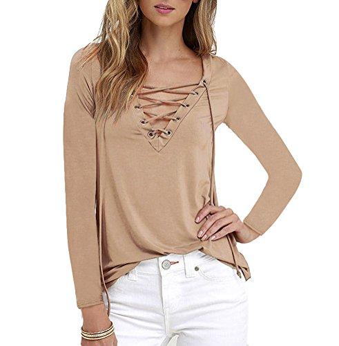 Chic V Col Manches T Tunique Fluide shirt Manches Femme Longues Lacets Longues Kaki Chemisiers LaoZan Chemise HARzq44w