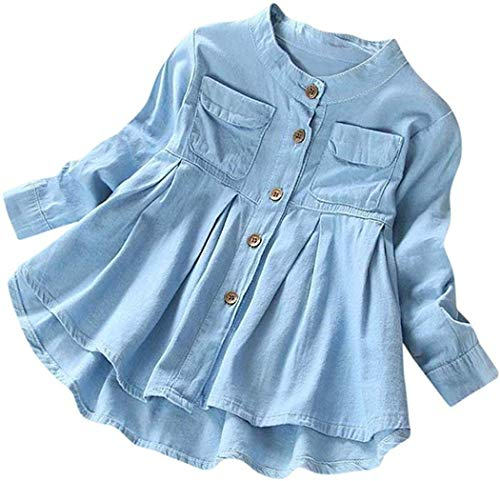 Baby Girls Kid Denim Ruched Long Sleeve T-Shirt Tops Dress Clothing Children Autumn Winter Fashion Blouse (Blue, 6T)