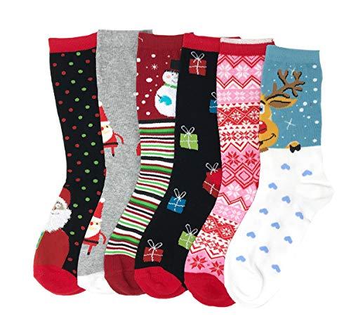 I&S 6 Pairs Crew Socks, Printed Fun Colorful Festive, Crew Knee Cozy Socks Women Fancy Christmas Holiday Design Soft