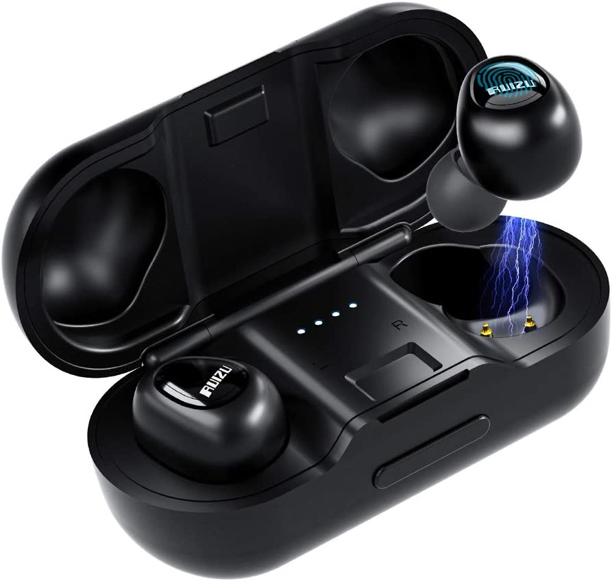 True Wireless Earbuds TWS Stereo Wireless Headphones Bluetooth 5.0 in-Ear Headset with Strong Connection, Noise Cancelling Mini Earphones Charging Case IPX5 Waterproof 58H Playtime Sports Earpiece