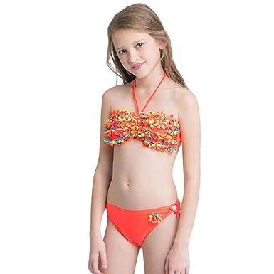 29499c4682 Kaiki Girls Flowers Halter Swimwear 2Pcs Toddler Bathing Bikini Set Outfits  Swimsuit: Amazon.co.uk: Clothing