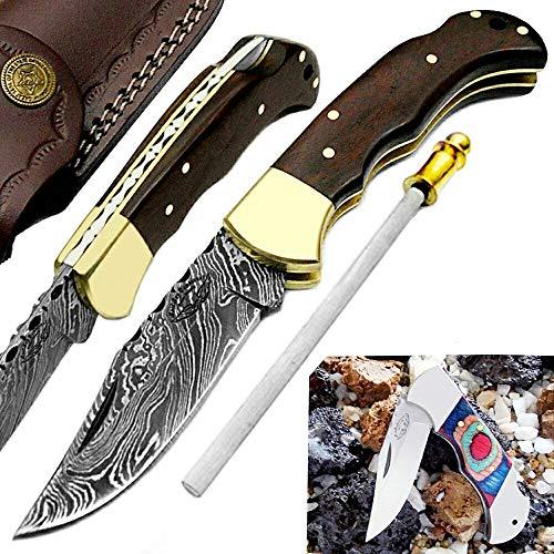 "Pocket Knife Rose Wood 6.5"" Damascus Steel Knife Brass Bloster Back Lock Folding Knife 100% Prime Quality + Multi Wood Stainless Steel Small Pocket Knife +Sharpening Rod Pocket Knives"