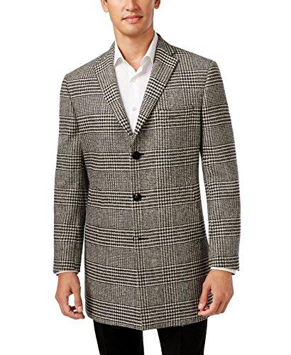 Tallia Mens 3-Button Wool Blend Glen Plaid Overcoat Medium M Black White