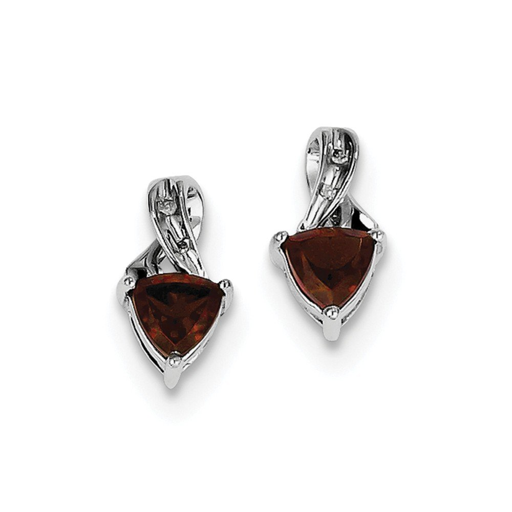 Sterling Silver Rhodium Plated Diamond and Garnet Post Earrings
