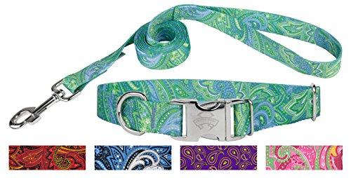 Paisley Dog Leash - Country Brook Design Green Paisley Premium Dog Collar & Matching Leash Set-M