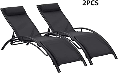 Ainfox Adjustable Chaise Lounge, Patio Reclining Elegant Lounge Chair Recliners Aluminum Sunbathing Chair with Headrest 2 Pack Black