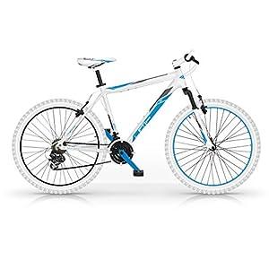 512OLCXMKtL. SS300 Mountain Bike MBM Loop in Lega Front Suspended 26 Pollici 21 Velocità (Bianco/Blu h56)