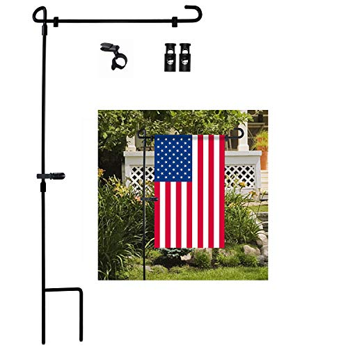 Garden Flag Stand, Premium Garden Flag Pole Holder Metal Powder-Coated Weather-Proof Paint with one Tiger Anti-Wind Clip and Two Anti-Wind Spring Stoppers Without Flag