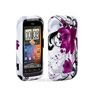 HTC Wildfire S Caso Elegante - Morado Flora Flor TPU Gel Funda Case Para HTC Wildfire S - thinkmobile