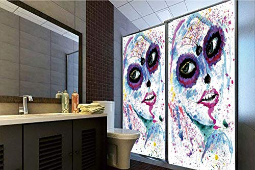 Horrisophie dodo No Glue Static Cling Glass Sticker,Girls,Grunge Halloween Lady with Sugar Skull Make Up Creepy Dead Face Gothic Woman Artsy,Blue Purple,39.37
