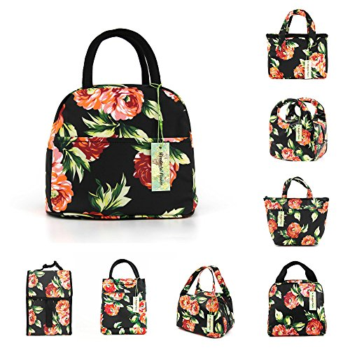 wonderful flower lunch bags for women insulated fashionable lunch bag flower (Floral-B5)