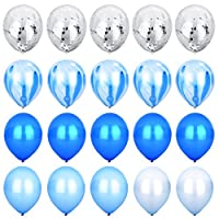 ROYBENS Confetti Marble Agate White Stripe Balloons Assorted Colors [12 Inch Pack of 20] Latex Balloon for Baby Shower Birthday Wedding Party Photo-Booth Backdrop Arch Decoration Supply