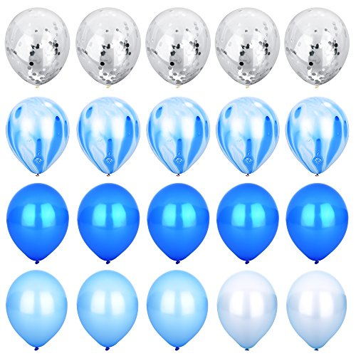 (Blue & Silver Confetti Balloons Agate Marble Stripe Assorted Colors Party Balloon [12 Inch, Pack of 20] Metallic Latex Balloons for Baby Shower Birthday Wedding NYE Party Decoration Supply -)