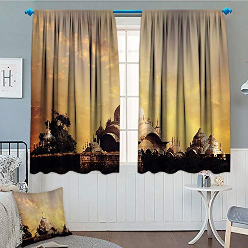 GLANDU Home Decor Collection, Window Curtain Fabric, Indian Antique Monumental Temple with Asian Landscape Empire Palace Picture Home Design Art, Drapes for Living Room, 72x63 Inch ()