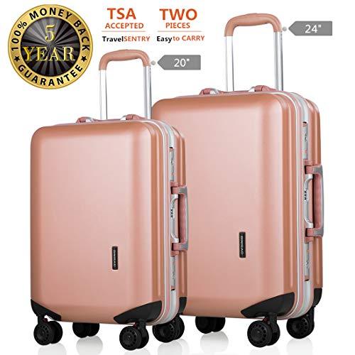 Luggage 2 Piece Set TSA Lock Lightweight Hardshell Spinner Suitcase for Travel Pink 20 24 ()