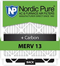 Nordic Pure 20x20x1M13+C-12 MERV 13 Plus Carbon AC Furnace Air Filters, Qty-12