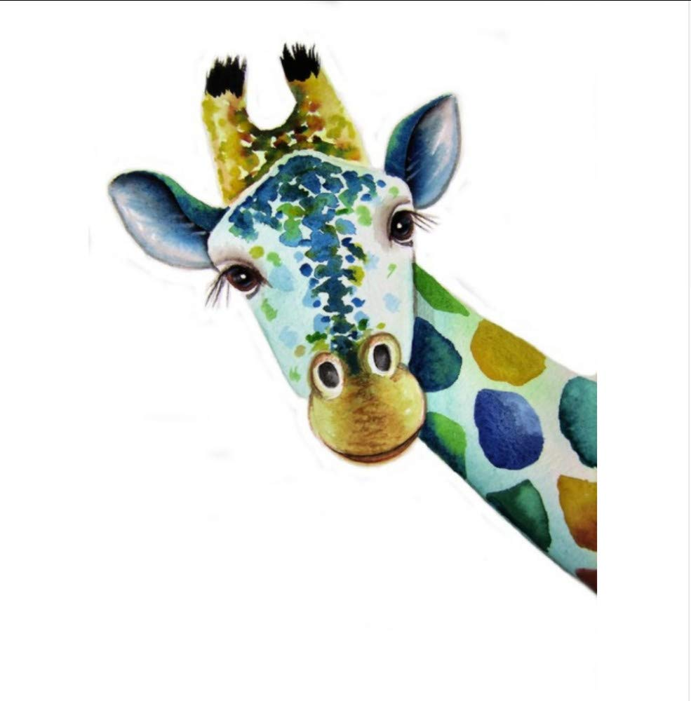 chellonm (No Frame) Painting By Number Coloring By Numbers For Home Decor Wall Decor Hand Painted Canvas Painting Blue Giraffe