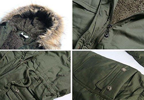 Inverno Inverno Donna Colletto Abbigliamento Pelliccia Pelliccia estyle verde con wattierungen militare e Autunno Cappotto Giacca Lunga con Cappuccio Newb qvEp44