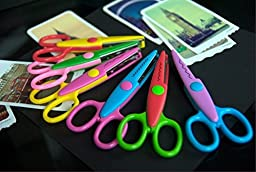 Elife 5 Inch Length Creative Scissors School Smart Paper Decorative Wave Lace Edge Scissors - Set of 6 - Assorted Colors for scrapbook crafts and Gift Card (Pack of 6 - 5\