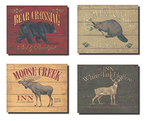 (Rustic Deer Bear Beaver and Moose Sign; Cabin Lodge Decor; Four 10x8in Poster Prints)