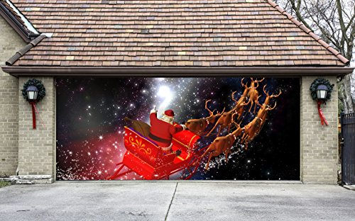 Christmas garage door cover banners 3d santa in a sleigh for Christmas garage door mural