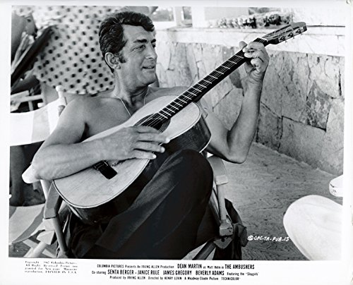 (Dean Martin Super Cool Original 1967 8x10 Photo On Set With Guitar The Ambushers)