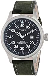 Timex Unisex T2N9979J Casual Black Distressed Leather Strap Watch