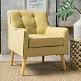 Fontinella   Mid Century Modern Fabric Arm Chair with Tufted Back   in Wasabi