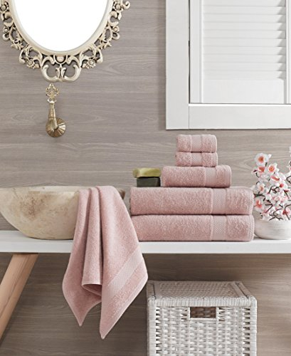 ixirhome Turkish Towel Set 6 Piece,100% Cotton, 2 Bath Towels, 2 Hand Towels and 2 Washcloths, Machine Washable, Hotel Quality, Super Soft and Highly Absorbent by (Rose - Roses Piece Set 2
