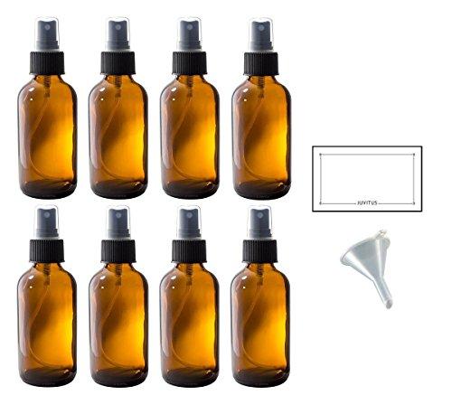 4 oz Amber Glass Boston Round Fine Mist Spray Bottle  + Funn