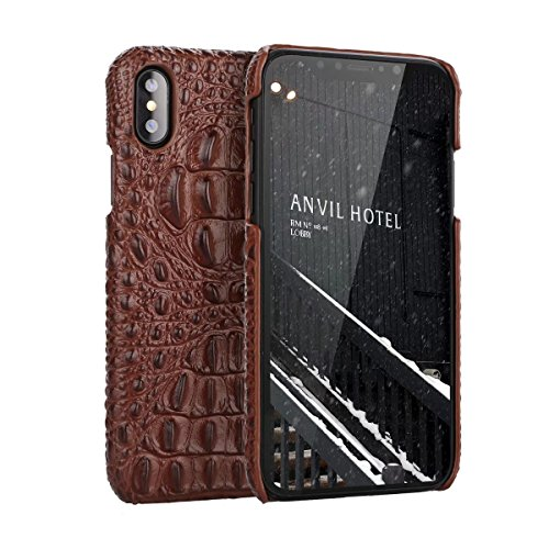 iPhone X Genuine Leather (Crocodile Texture)Case Cover,Flying Horse Real Leather Alligator Skin Texture[Ultra Slim Handmade]Back Cover for iPhone - Skin Alligator Texture