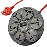 ELV Surge Protector and Spike Guard, 10 AMP, 6 Socket Extension Board Cord, 6 Feet Wire, Overload Protection Master Switch with LED, MOV with Fire Resistance Sleeve - Grey