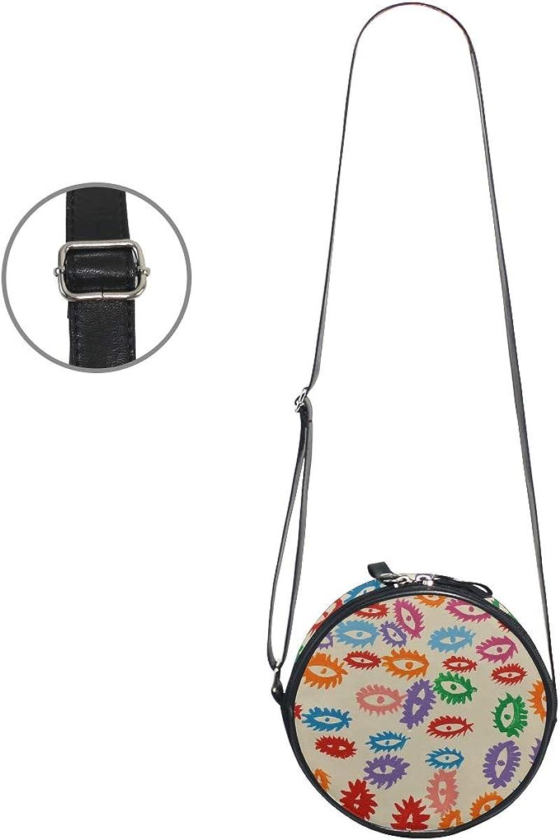 KEAKIA Eyes Pattern Round Crossbody Bag Shoulder Sling Bag Handbag Purse Satchel Shoulder Bag for Kids Women