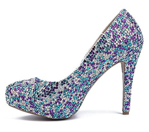 Round Evening Sexy Shoes Stiletto Toe Dazzling Party Sheepskin TDA Multicoloured Women's Rhinestones Dress Platform ZgxqHT