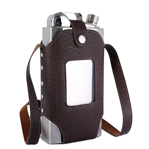 TOX TANEAXON 35 oz Large Capacity Whiskey Flasks for Liquor with Removable Transparent Holster - Stainless Steel and Leak Proof ()