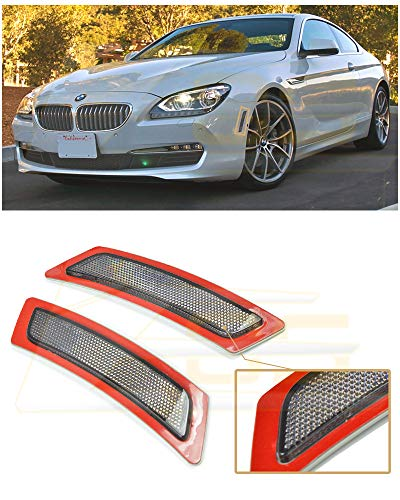 Extreme Online Store Replacement for 2012-Present BMW F06 F12 F13 6-Series Base Models EOS Factory Style Crystal Smoke Front Bumper Fender Reflector Side Marker Lights Turn Signal Lamps