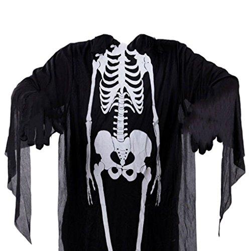 [Mememall Fashion Black Skeleton Scary Halloween Costume One Size Adult Grim Reaper Ghost Monster] (Bowser Costume For Dog)