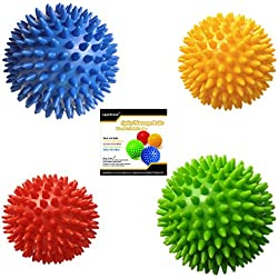 Pack of 4 Spiky Massage Balls, 2 of 7.5cm & 2 of 9cm, Stress Reflexology, Muscle Therapy, Porcupine Sensory Ball Set