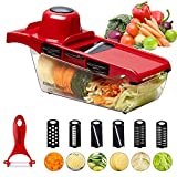 Cooliker Mandoline Slicer, Kitchen Vegetable Cutter Chopper 6 Interchangeable Blades with Peeler,Hand Protector,Food Storage Container - Cutter for Potato,Tomato,Onion,Cheese,Cucumber etc