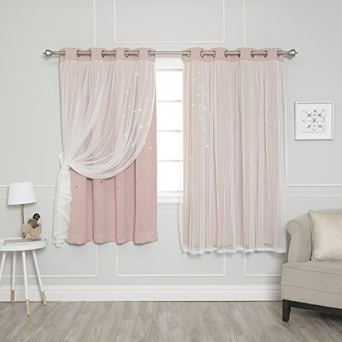 Best Home Fashion Tulle Overlay Star Cut Out Blackout Curtains - Stainless Steel Grommet Top - Dusty Pink - 52