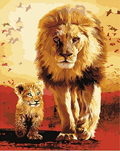 Wowdecor Paint by Numbers Kits for Adults Kids, Number Painting - Sunset, Lion King and Son 16x20 inch (framed)