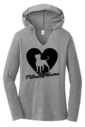 Comical Shirt Ladies Hoodie Shirt Pitbull Mama Tee Pitt Bully Dog Lover Gift Tee Grey Frost L