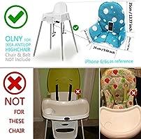 ZARPMA bebe Cojines para de Ikea Antilop Trona ,Lavable, Plegable, Silla Alta Cojines para Bebé,No Incluye Trona y CinturóN de Seguridad