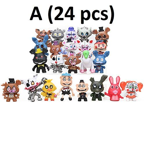 PAPWELL Set 24 Five Nights at Freddy's Action Figures 2 - 4.5 inch FNAF Hot Toys Foxy Chica Bonnie Freddy Fazbear Toy Halloween Christmas Collectable Gift Collection Gifts for Kids (Set A (24 pcs)) -