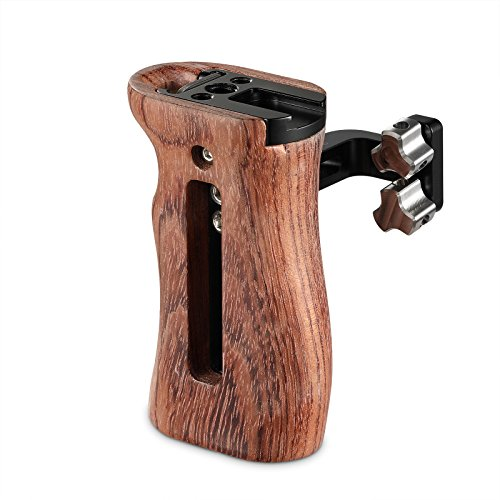 SMALLRIG Universal Side Wooden Handle Grip for DSLR Camera Cage w/Cold Shoe Mount, Threaded Holes - 2093
