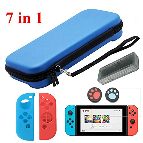 Etbotu 7 in 1 Safe Protector Set for Nintendo Switch,Protection Storage Bag Cover + Tempered Glass Screen + Game Card Storage Box + 2 Controller Silicone Case + 2 Controller Thumbsticks Caps ()