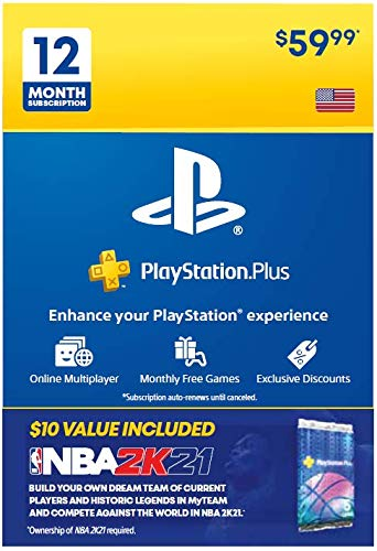 PS Plus 12 Month & NBA 2K21 Jumpstart Pack Bundle [Digital Code]