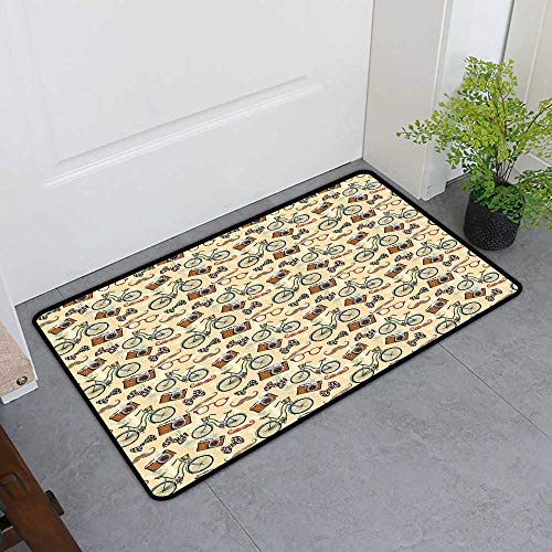 TableCovers&Home Universal Door Mat, Retro Decorative Rugs for Kitchen, Hipster Lifestyle in Urban City Theme Antique Camera Bicycle Mustache and Old Glasses (Multicolor, H16 x W24)