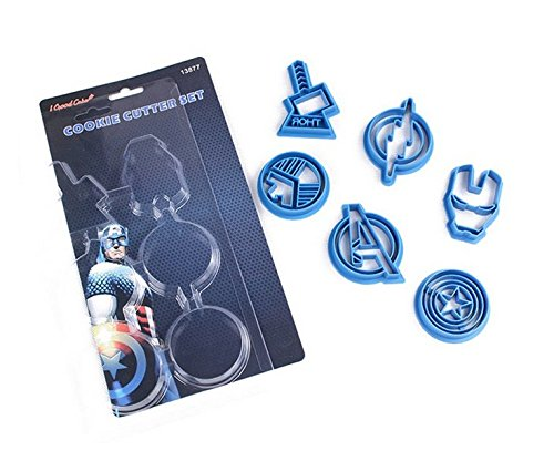 Astra Gourmet Avengers Cpt Superhero Cookie Cutters, Plastic Baking Fondant Cookie Molds Cake Decoration , Set of 6 (Shot Glass Captain America)